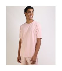camiseta masculina box ampla manga curta gola careca rosa claro