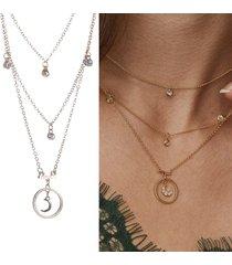 collana a catena a più strati della boemia collana con gemme e strass geometrici per le donne