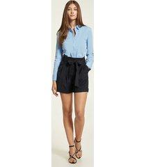 motivi shorts paper bag con fusciacca gessati donna blu