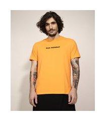 """camiseta masculina manga curta bad monday"""" gola careca laranja"""""""