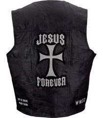 giovanni navarre® black genuine leather vest with christian patches med-3xl