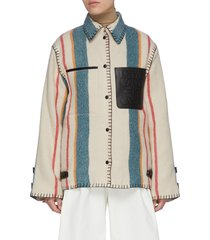blanket stitch trim stripe wool jacket