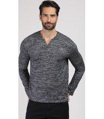 suéter masculino em tricô gola portuguesa cinza mescla escuro