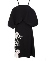 ermanno scervino black off shoulder midi dress with embroidered floral inlays