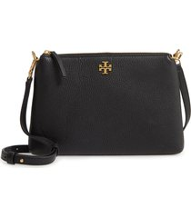 tory burch kira pebbled leather wallet crossbody bag - black