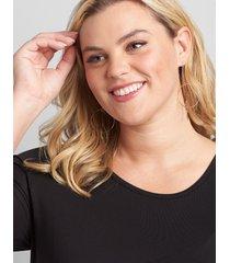 lane bryant women's double-hoop drop earrings onesz gold tone