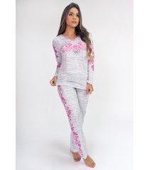 pijama de manga longa raglan estampa digital (roses) - ref: k2809 - multicolorido - feminino - dafiti