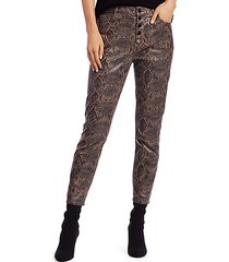 lillie high-rise coated snakeskin-print crop skinny jeans