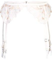 fleur du mal lily lace garter belt - white