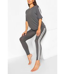 side stripe t-shirt leggings lounge set, slate