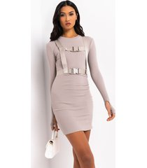 akira ready for action long sleeve belted mini dress