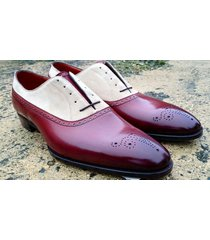 handmade men beige burgundy brogue shoes, oxford formal dress suede & leather sh