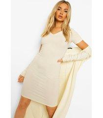 geribbelde jurk met kraag detail en duster jas, cream