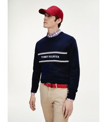 tommy hilfiger men's relaxed fit embroidered logo sweater desert sky - xxl