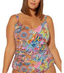 bleu rod beattie plus size groovy baby! printed scoop neck floating underwire tankini top women's swimsuit