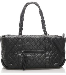 chanel quilted lady braid tote black sz: l
