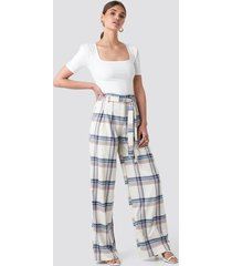 trendyol checkered plaid trousers - white,multicolor