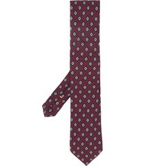 canali geometric-pattern pointed tie - red