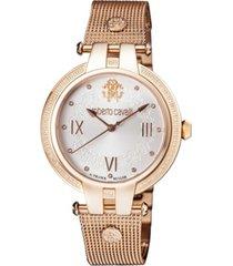 roberto cavalli by franck muller women's diamond swiss quartz rose-tone stainless steel bracelet watch, 40mm