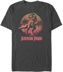 jurassic park men's retro t-rex sunset logo short sleeve t-shirt