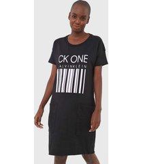 vestido calvin klein underwear curto lettering preto