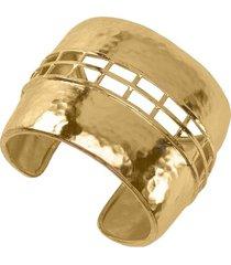 gold brass cage bracelet, women's, josie natori