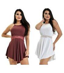 kit 2 camisola microfibra renda luxo sensual vestido bordô branco