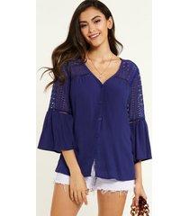 yoins blusa de botones delanteros con cuello de pico y adornos de encaje de crochet azul marino