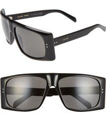 women's celine 63mm oversize flat top sunglasses - shiny black/ smoke