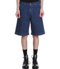 raf simons shorts in blue denim