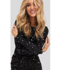 na-kd party round sequin dress - black