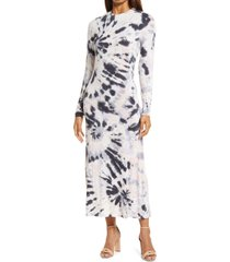 fourteenth place tie dye long sleeve maxi dress, size small in blush spiral tie dye at nordstrom