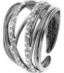 anello in ottone rutenio e glitter per donna