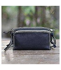leather shoulder bag, 'free and easy in blue' (indonesia)