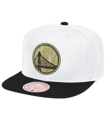 mitchell & ness golden state warriors white gold pop snapback cap