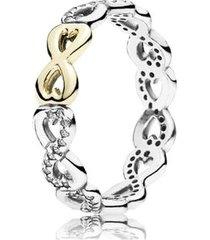 anel prata com ouro infinito amor