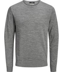 jack & jones trui pullover 12158190 mark knit grey melange - grijs