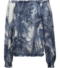 for restless sleepers tropical print off-shoulder blouse