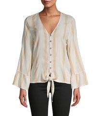 vintage havana women's textured weave striped top - beige - size s
