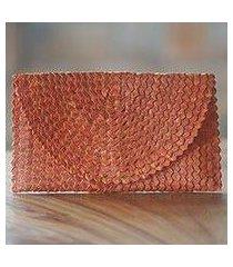natural fiber clutch, 'pumpkin texture' (indonesia)