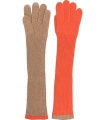 aspesi two-tone long gloves - 01501 cammello