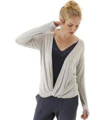 blusa manga longa com decote profundo e torção na barra aha feminina - feminino
