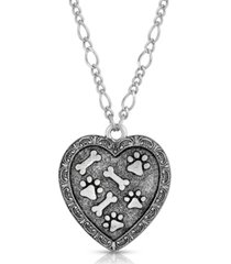 2028 pewter heart paw and bones necklace