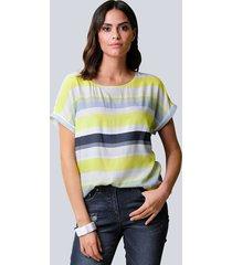 blouse alba moda marine::offwhite::limoengroen