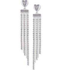guess silver-tone crystal heart fringe linear earrings