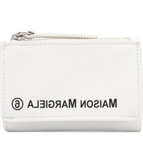 mm6 maison margiela mirrored logo wallet - white