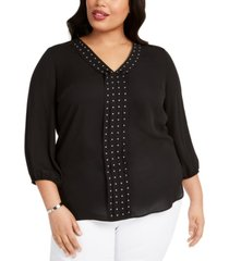 jm collection plus size stud-trim pleat-front top, created for macy's