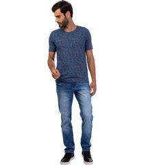 camiseta masculina folhagem azul
