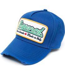 dsquared2 logo-patch distressed baseball cap - blue