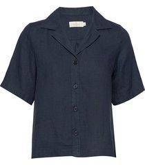 donna linen shirt kortärmad skjorta blå morris lady